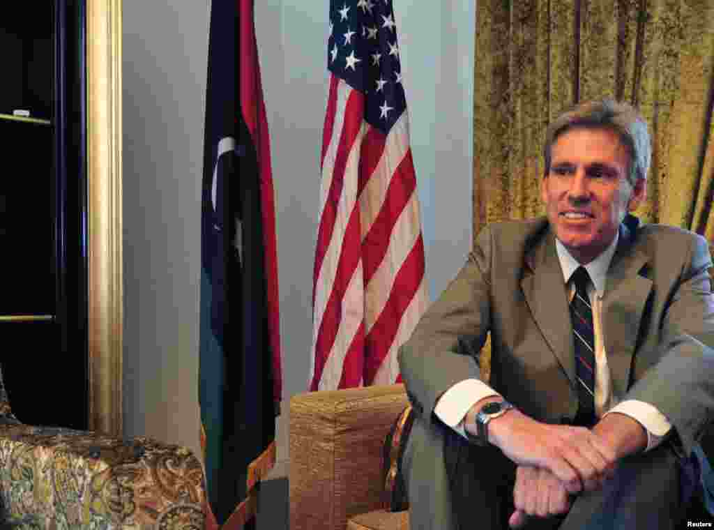 Christopher Stevens, the U.S. ambassador to Libya, was killed along with three of his staff on September 11, 2012 during a demonstration at the U.S. consulate in Benghazi. This photo was taken at his home in Tripoli, June 28, 2012.