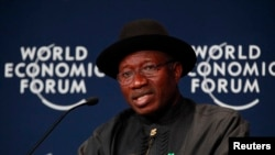 Nigeria President, Goodluck Jonathan, speaks during the World economic forum on Africa in Abuja, Nigeria, May 8, 2014.