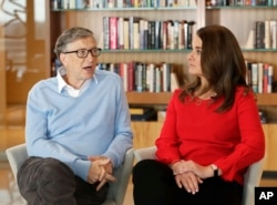 FILE - Microsoft co-founder Bill Gates and his wife, Melinda, take part in an interview with The Associated Press in Kirkland, Wash., Feb. 1, 2018.