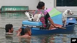 10月9号泰国中部一名妇女和宠物乘船撤离