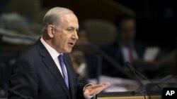 ນາຍົກລັດຖະມົນຕີອິສຣາແອລ Benjamin Netanyahu ກ່າວຄໍາປາໄສ ຕໍ່ກອງປະຊຸມ ປະຈໍາປີທີ 67 ຂອງສະມັດຊາໃຫຍ່ ສະຫະປະຊາຊາດ, ວັນທີ 27 ກັນຍາ 2012.