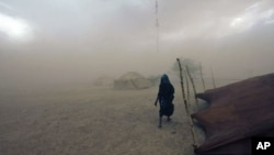 A Tuareg woman walks during a sandstorm in Ingal, Niger, September 18, 2011. Scientists say such storms could increase with climate change.