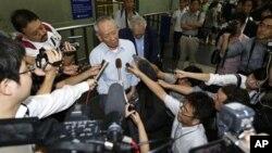 북-일 회담을 앞두고 사전 답사차 북한을 방문 중인 일본 민간인 대표 마사키 사다오 씨. 방북에 앞서 베이징에서 기자회견을 가졌다.