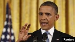 Tổng thống Obama tại buổi họp báo đầu tiên kể từ khi ông tái đắc cử, 14/11/2012. REUTERS/Larry Downing