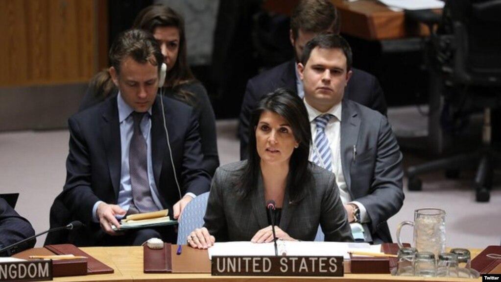 Nikki Haley devant les Nations unis, 5 février 2018.