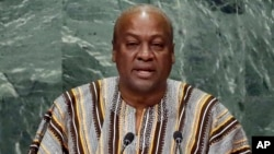 FILE - Ghana's President John Dramani Mahama, shown addressing the United Nations General Assembly in September, is seeking a second term in elections Dec. 7.