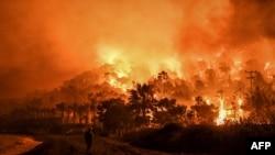 希臘科林斯地區爆發山林大火。(2021年5月20日)