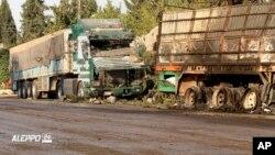 Dieciocho de los 32 camiones que formaban el convoy quedaron completamente destruidos.