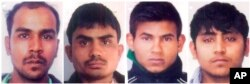 Convicted rapists (from left), Mukesh Singh, Akshay Thakur, Vinay Sharma and Pawan Gupta