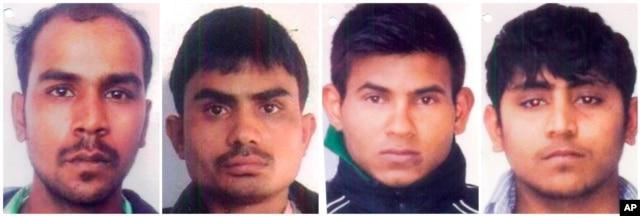 Convicted rapists (from left), Mukesh Singh, Akshay Thakur, Vinay Sharma and Pawan Gupta