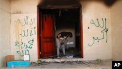 지난 2012년 9월 리비아의 벵가지 미국 영사관이 습격을 당한 후 사건 현장.