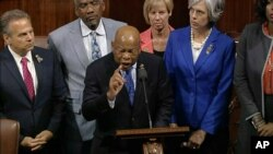 Georgia Rep. John Lewis leads more than 200 Democrats in demanding a vote on measures to expand background checks and block gun purchases by some suspected terrorists, in this frame grab taken from AP video, June 22, 2016.