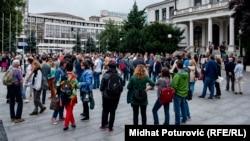 Sa protesta u Sarajevu 28.08.2018. Foto:RSE