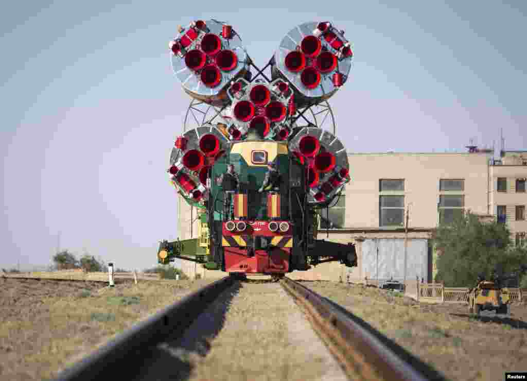 The Soyuz TMA-09M spacecraft is transported to its launch pad at Baikonur cosmodrome, Kazakhstan.