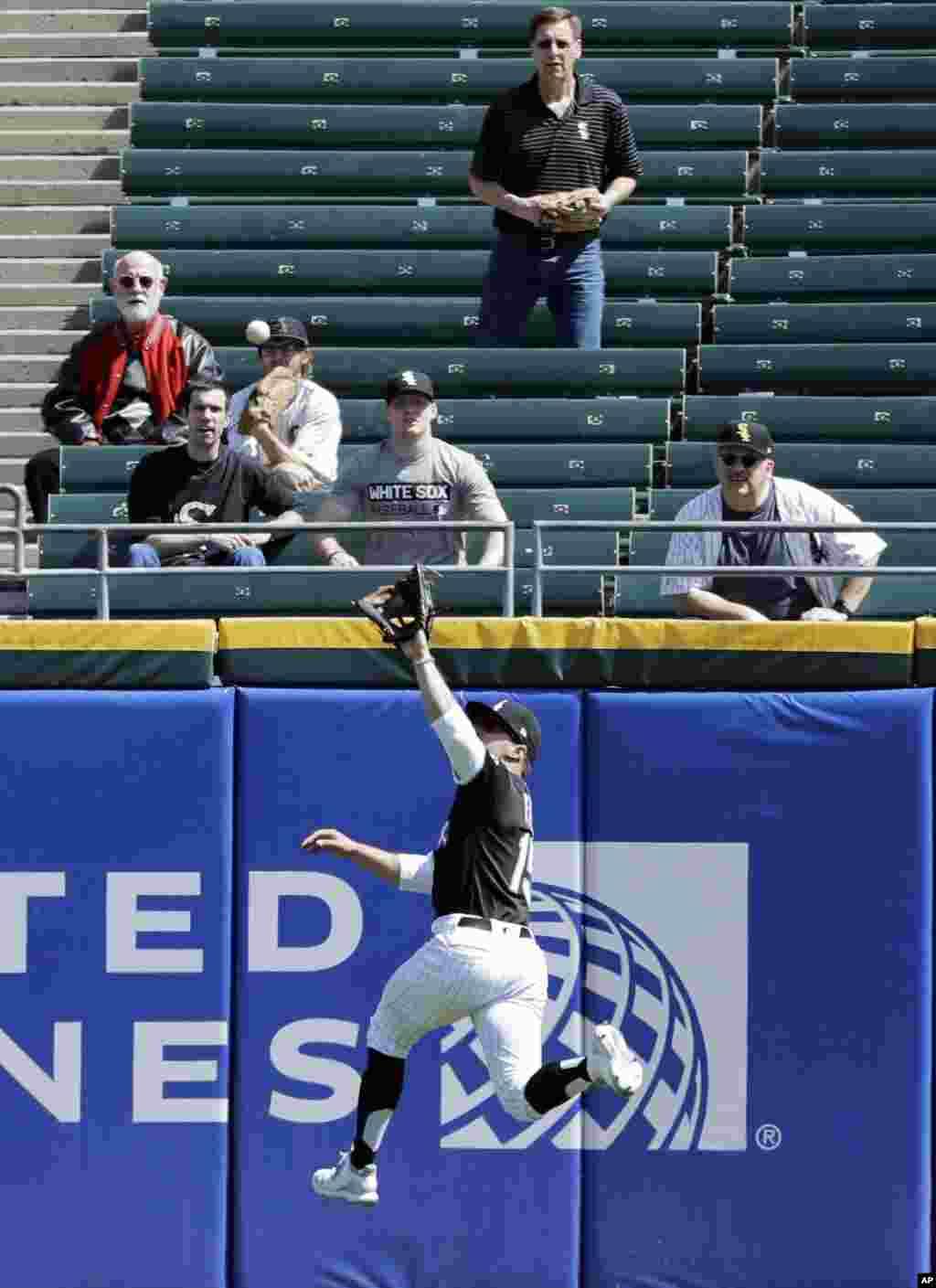 بازیکن تیم بیسبال ساکس سفید شیکاگو تلاش دارد که توپ را از آن خود کند.