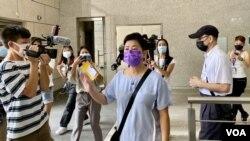 黃碧雲自行到西九龍裁判法院應訊。(美國之音 湯惠芸拍攝)