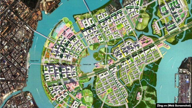 Bản đồ quy hoạch mới của Khu đô thị Thủ Thiêm.
