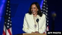 Vice President-elect Kamala Harris delivers remarks in Wilmington, Delaware, on November 7, 2020, after being declared the winner with Joe Biden of the presidential election. (Photo by Jim WATSON / AFP)