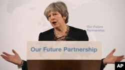Perdana Menteri Inggris berbicara di kediaman walikota London di Mansion House, Jumat (2/3).