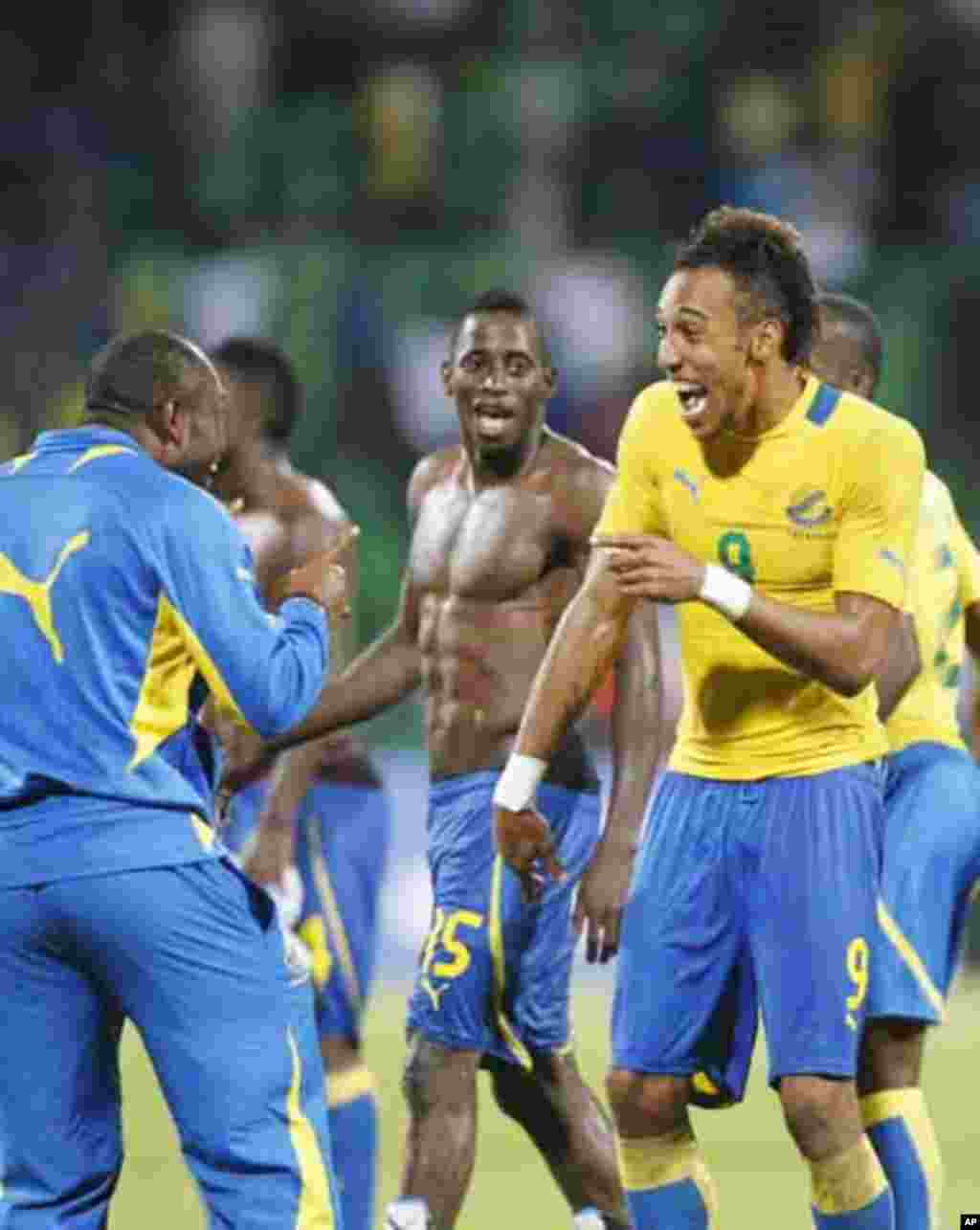 Gabon's Pierre Emerick Aubameyang (9) celebrates with teammates after they won their African Nations Cup Group C soccer match against Tunisia at Franceville Stadium in Gabon January 31, 2012.