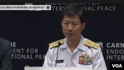 日本海上幕僚長武居智久(Tomohisa Takei)7月29日星期三在華盛頓智庫卡內基國際和平基金會發表演講.