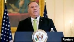美國國務卿蓬佩奧在國務院的記者會上宣布特朗普政府恢復對伊朗的制裁。(2020年9月21日)