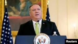 U.S. Secretary of State Mike Pompeo speaks during a news conference to announce the Trump administration's restoration of sanctions on Iran, at the U.S. State Department in Washington, U.S., September 21, 2020. Patrick Semansky/Pool via REUTERS