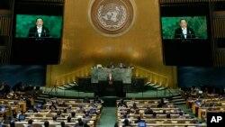 Menteri Luar Negeri Korea Utara Ri Yong Ho pada saat berbicara di Sidang Umum PBB ke 72 di Markas PBB, 23 September 2017.