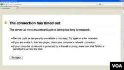 Situs MasterCard tidak bekerja akibat diserang oleh para peretas hari Rabu pagi, 8 Desember 2010.