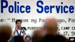 Tổng thống Philippines Rodrigo Duterte phát biểu tại lễ kỷ niệm 115 năm ngành cảnh sát tại trụ sở Cảnh sát Quốc gia Philippines (PNP) ở Manila, ngày 17 tháng 8 năm 2016.