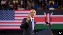 Tổng thống Mỹ Barack Obama phát biểu tại Sân vận động Safaricom ở thủ đô Nairobi, Kenya, ngày chủ nhật 26 tháng 7, 2015.