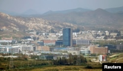 FILE - The inter-Korean Kaesong Industrial Complex is seen across the demilitarized zone (DMZ) separating North Korea from South Korea in this picture taken from Dora observatory in Paju, 55 kilometers north of Seoul.