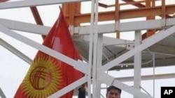 A demonstrator in Kyrgyzstan