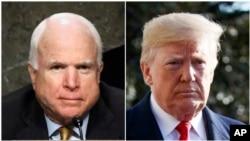 From left, late Sen. John McCain of Arizona and President Donald Trump.