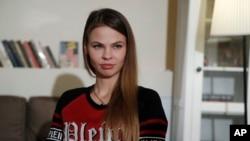 Model Belarusia, Anastasia Vashukevich yang dikenal di media sosial sebagai Nastya Rybka dalam wawancara dengan Associated Press di Moskow, Rusia, 1 Februari 2019.