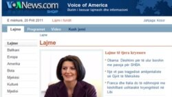 VOA Albanian Service website, featuring Kosovo's new president, Atifete Jahjaga
