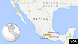 Map showing Guerrero, Mexico