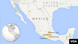 Bản đồ bang Guerrero, Mexico.