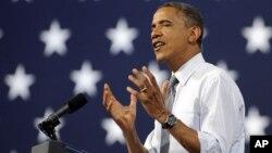 美國總統奧巴馬9月12日在拉斯維加斯競選集會上發表演講