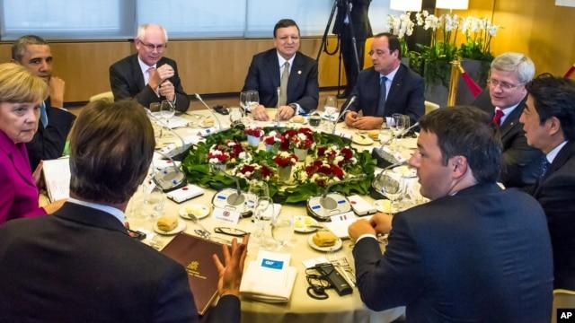 Các nhà lãnh đạo nhóm G7 thảo luận tại Brussels, ngày 4/6/2014.