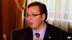 Premijer Srbije Aleksandar Vučić u intervjuu Asošijejted Presu u Tirani.