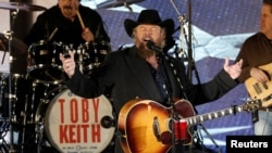 "FILE - Toby Keith performs at the ""Make America Great Again! Welcome Celebration"" concert at the Lincoln Memorial in Washington, Jan. 19, 2017."