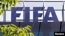 The logo of soccer's international governing body FIFA is seen on its headquarters in Zurich, Switzerland, May 27, 2015.