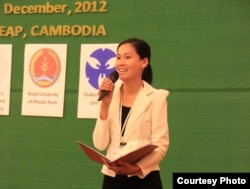 Sok Sikieng, a woman working in empowering women in technology and a Technovation Ambassador in Cambodia. (Courtesy Photo)