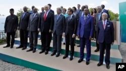 七國集團領袖與非洲領導人合照