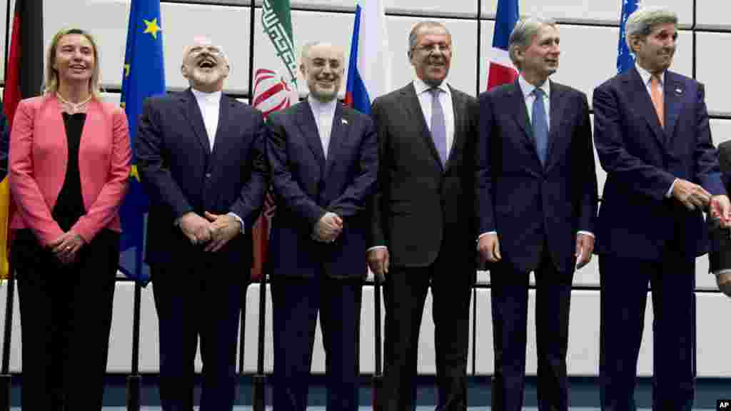 Iran nuclear agreement negotiating partners pose for a group picture at the United Nations building in Vienna, July 14, 2015.