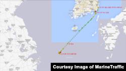 지난해 4월 21일부터 5월 25일 사이 '피 파이어니어 ' 호의 항적. MarineTraffic 제공.