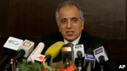 FILE - Former U.S. official Zalmay Khalilzad speaks during a news conference at Serena Hotel in Kabul, Afghanistan.