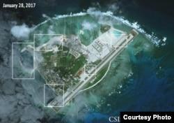 2017年1月28日拍摄的永兴岛卫星图片