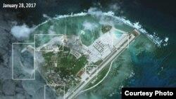 Ảnh chụp từ vệ tinh Đảo Phú Lâm, Trung Quốc gọi là Vĩnh Hưng Đảo (ảnh tư liệu ngày 28/1/2017)